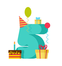 5 year happy birthday greeting card 5th vector