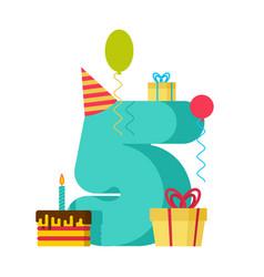 5 year happy birthday greeting card 5th vector image