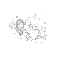 A cartoon girl and cute cats sleeping lovely pets vector