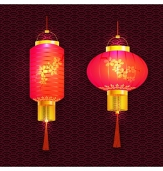 A set purple chinese lanterns with cherry vector
