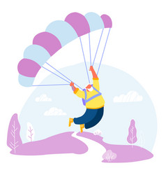 Active senior man skydiver sports activity hobby vector