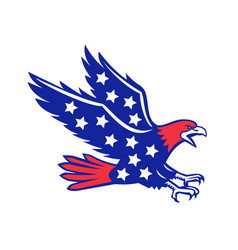 American eagle swooping stars icon vector