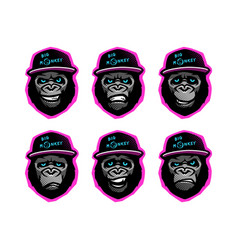 angry gorilla head in baseball cap on a dark vector image
