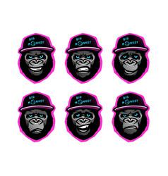 Angry gorilla head in baseball cap on a dark vector