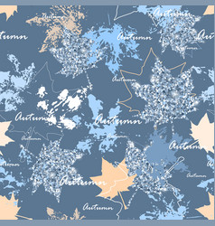 autumn leaves seamless pattern silver and blue vector image