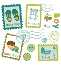 Baby boy stamps collection vector