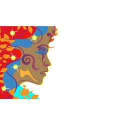 Background of dark skinned girl mulatto woman in vector