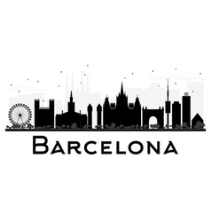Barcelona City skyline black and white silhouette vector image