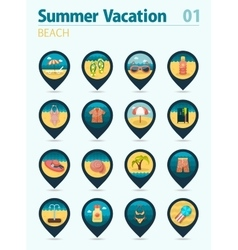 Beach pin map icon set Summer Vacation vector