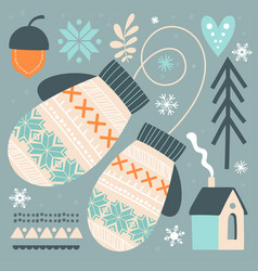 Beautiful abstract postcard with winter gloves vector