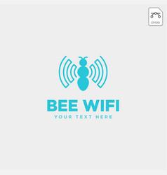 Bee connection communication creative logo vector