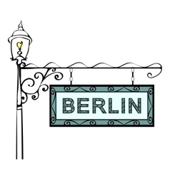 Berlin retro vintage pointer lamppost vector