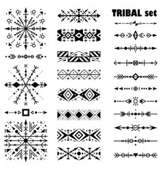 black-and-white brush set in tribal style vector image