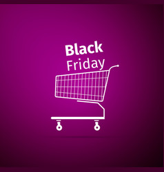 black friday sale shopping cart icon isolated vector image