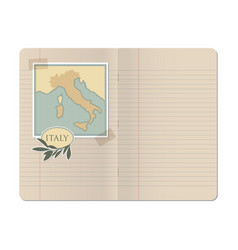 blank stapled lines notebook with map of italy vector image