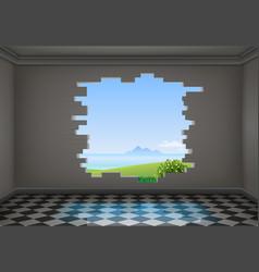 Break in the wall of the room vector