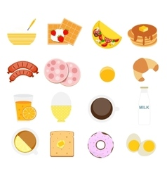 Breakfast Icon Set in Modern Flat Style vector