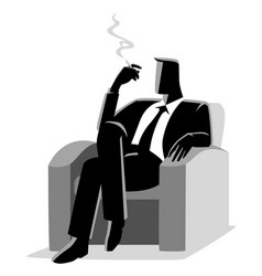 Businessman sitting comfortable in sofa while vector