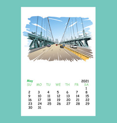Calendar sheet may month 2021 year philadelphia vector