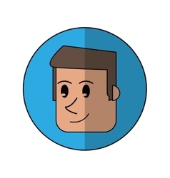 Cartoon face man front smiling blue background vector