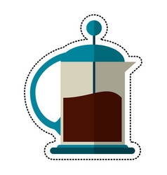 cartoon french press coffee maker vector image
