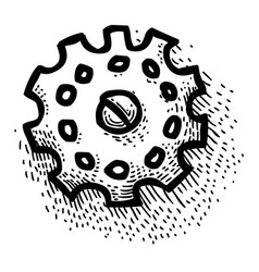 Cartoon image of gear icon engineering symbol vector