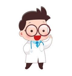 Cartoon of young male doctor in white coat idea vector