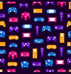 cartoon silhouette gamepad seamless pattern vector image