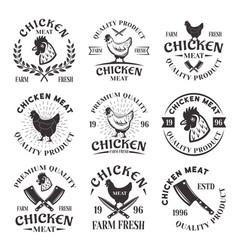 chicken meat set emblems labels badges vector image