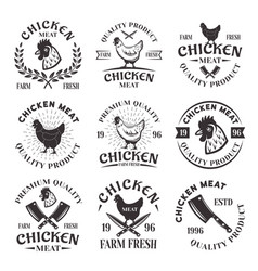 Chicken meat set of emblems labels badges vector