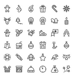 christmas icon set in thin line style symbols vector image