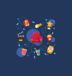 Cinema or movie set scene film industry vector