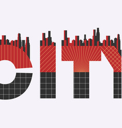 City word with geometric figures in the style of vector