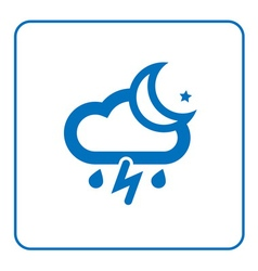 Cloud lightning rain moon icon vector