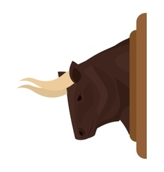 Color image head bull with decorative frame vector