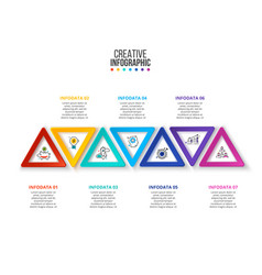 Creative concept for infographic triangles with 7 vector