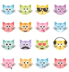 Cute colorful cat faces set vector
