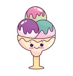 Cute food ice cream scoops in cup sweet dessert vector