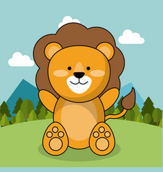 cute lion adorable landscape natural vector image