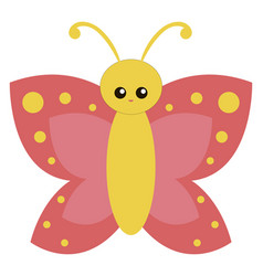 cute yellow butterfly on white background vector image
