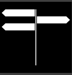 Direction sign it is the white color icon vector