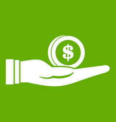 dollar in hand icon green vector image