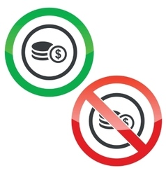 Dollar rouleau permission signs vector
