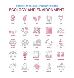 Ecology and enviroment icon dusky flat color vector