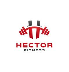Elegant h gym fitness logo design vector