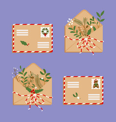 Envelopes with sprigs greenery vector