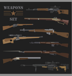 Firearm set gun rifle carbine flat design vector
