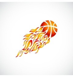 flame fire ball orange basketball symbol icon vector image vector image