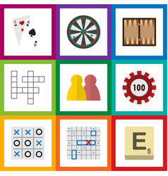 flat icon play set of mahjong guess poker and vector image