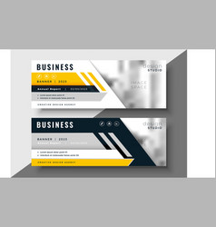 Geometric yellow business banner design vector